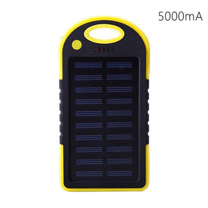 Portable Solar Powered Cell Phone Battery Charger Black and Yellow - Shopptique