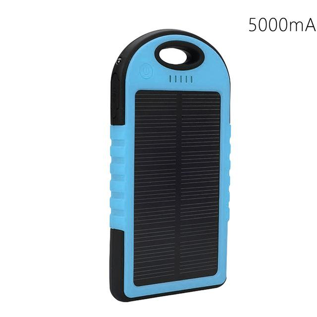 Portable Solar Powered Cell Phone Battery Charger Blue and Black - Shopptique