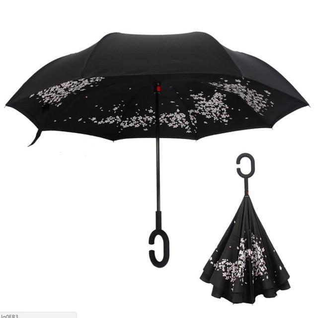 Upside Down Inverted Rain Umbrella Black - Shopptique
