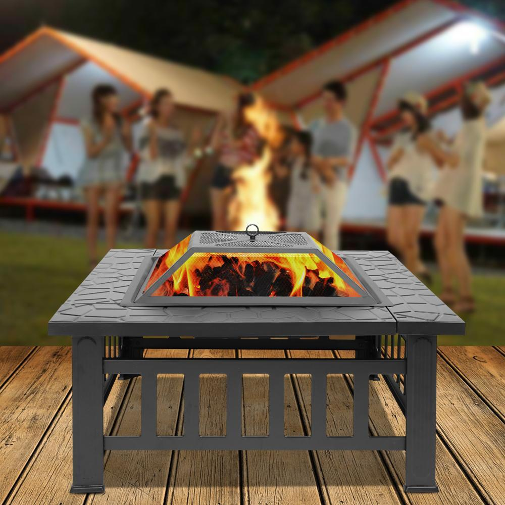 Outdoor Modern Square Patio Fire Pit Table - Shopptique