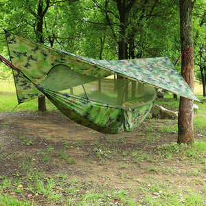 Premium Portable Camping Hammock With Mosquito And Bug Net Camouflage - Shopptique