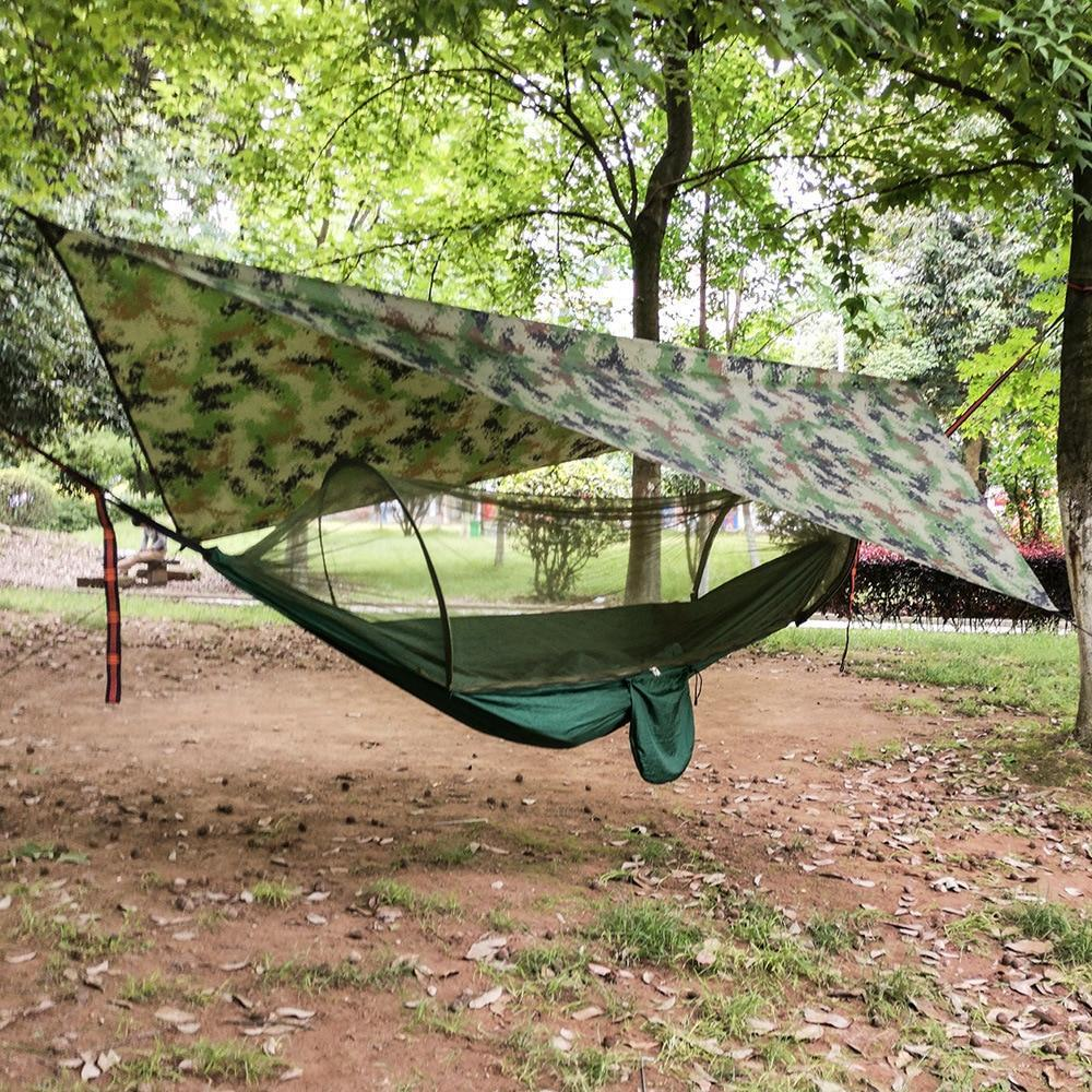 Premium Portable Camping Hammock With Mosquito And Bug Net Dark Green Set - Shopptique