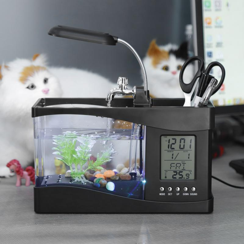 Small LED Fish Aquarium Water Tank Black / L - Shopptique