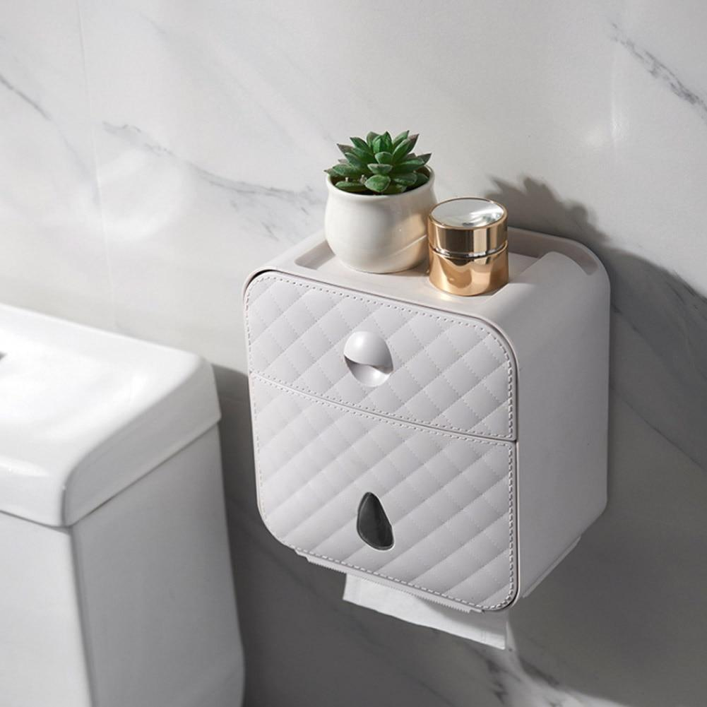 Wall Mounted Toilet Paper Holder With Shelf Storage - Shopptique
