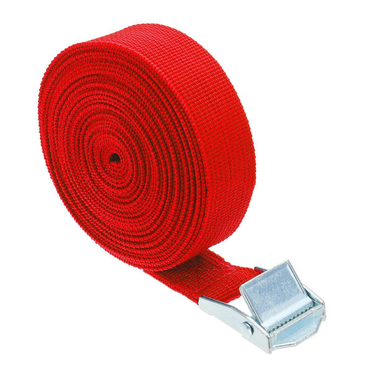 "1"" x 39"" Heavy Duty Ratchet Tie Down Cargo Straps Retractable Red - Shopptique"