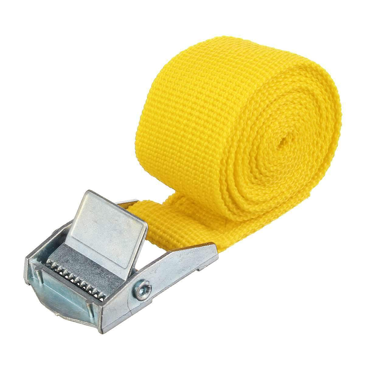 "1"" x 39"" Heavy Duty Ratchet Tie Down Cargo Straps Retractable Yellow - Shopptique"
