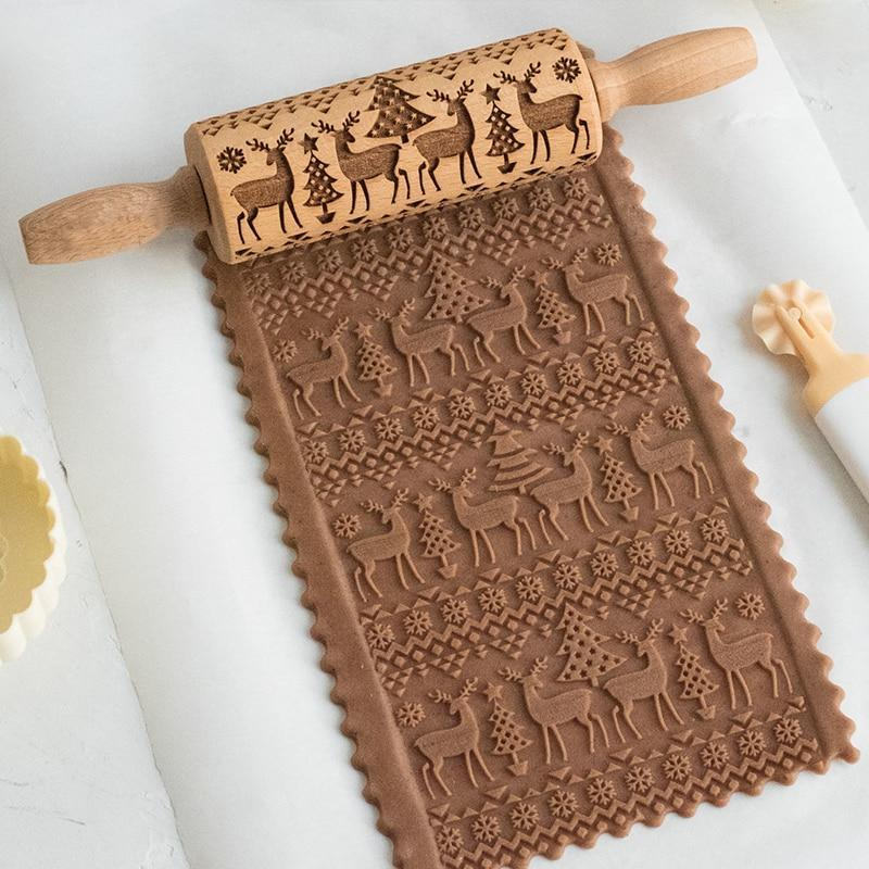 Decorative Holiday Embossed Christmas Rolling Pin Reindeer & Christmas Trees - Shopptique