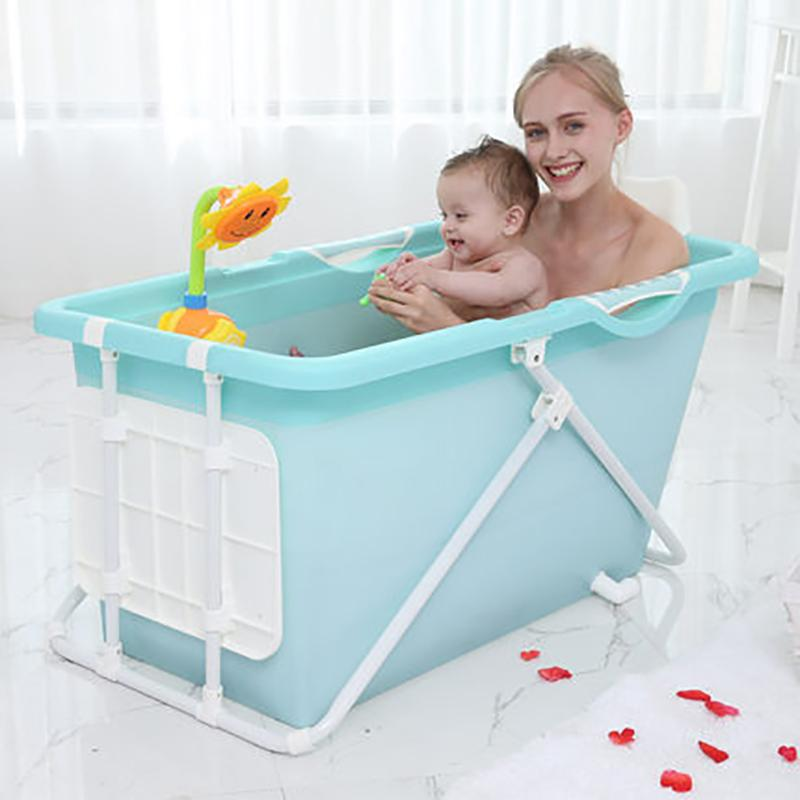 Portable Stand Alone Foldable Bathtub Spa Blue - Shopptique