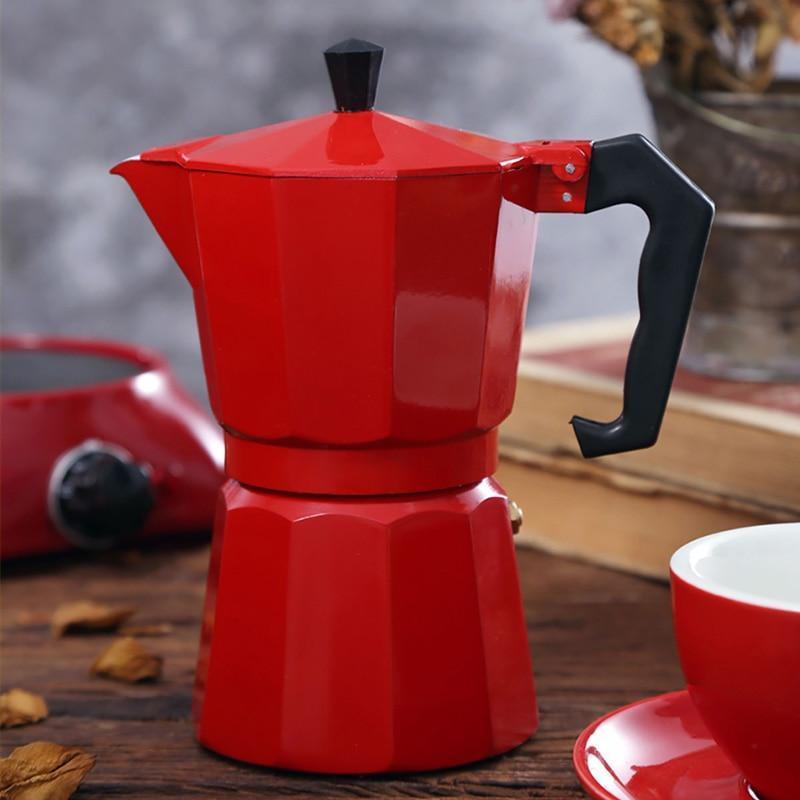 Aluminum Stovetop Moka Coffee Maker Espresso Pot Red 300ml - Shopptique