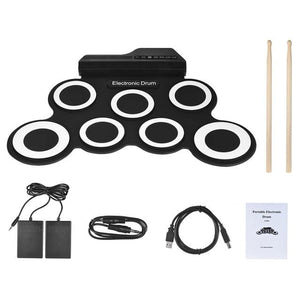 Portable Electric Drum Set Kit Black and White - Shopptique
