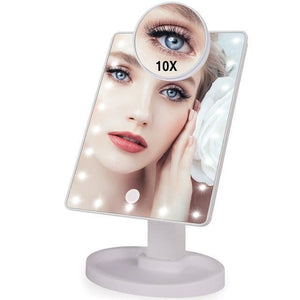 Lighted Magnifying Makeup Mirror Countertop Vanity 10X 22 Led Lights White - Shopptique
