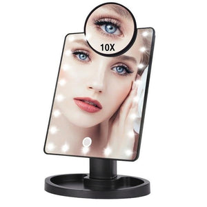 Lighted Magnifying Makeup Mirror Countertop Vanity 10X 22Led Lights Black - Shopptique