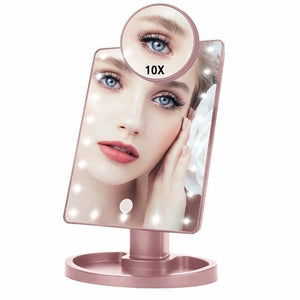 Lighted Magnifying Makeup Mirror Countertop Vanity 10X 22Led Lights Gold - Shopptique