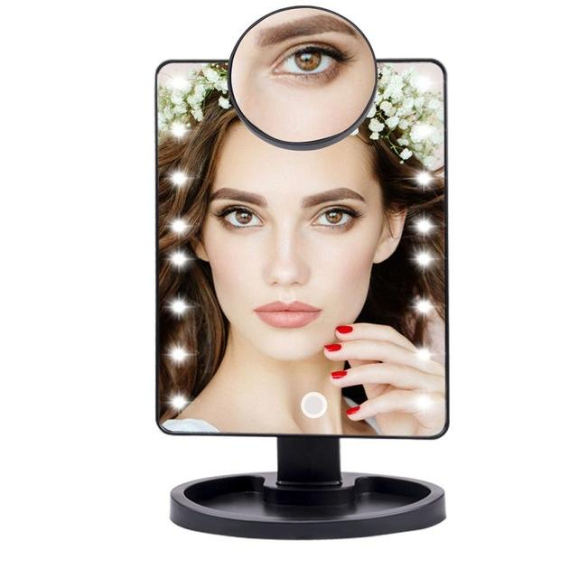 Lighted Magnifying Makeup Mirror Countertop Vanity 10X 16 Led Lights Black - Shopptique