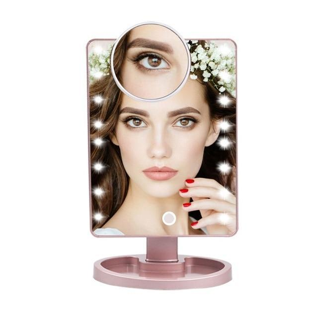 Lighted Magnifying Makeup Mirror Countertop Vanity 10X 16 Led Lights Gold - Shopptique