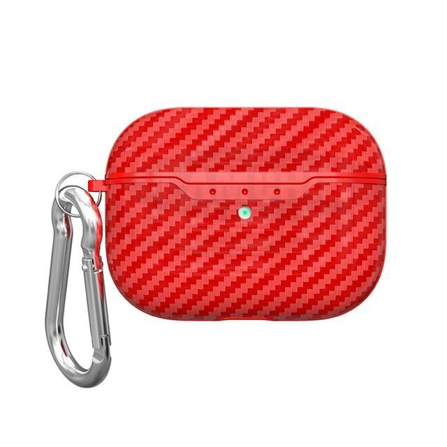 Carbon Fiber Airpods Pro Case Protective Cover Red - Shopptique