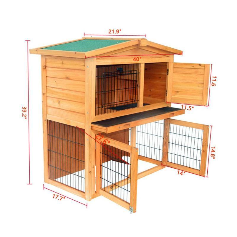Large Indoor Outdoor Rabbit Hutch Cage House 40in - Shopptique
