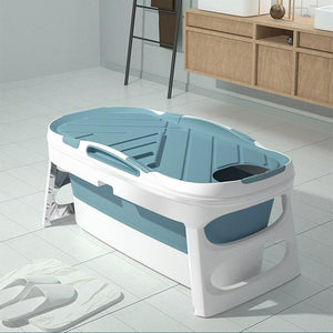 Portable Adult Foldable Bathtub Collapsible Stand Alone Spa Blue - Shopptique