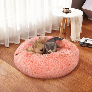 "Fluffy Super Soft Pet Bed Pet Dog Bed Warm Fleece House Long Plush Winter Pink / XS - Diameter 40cm (15.7"") - Shopptique"
