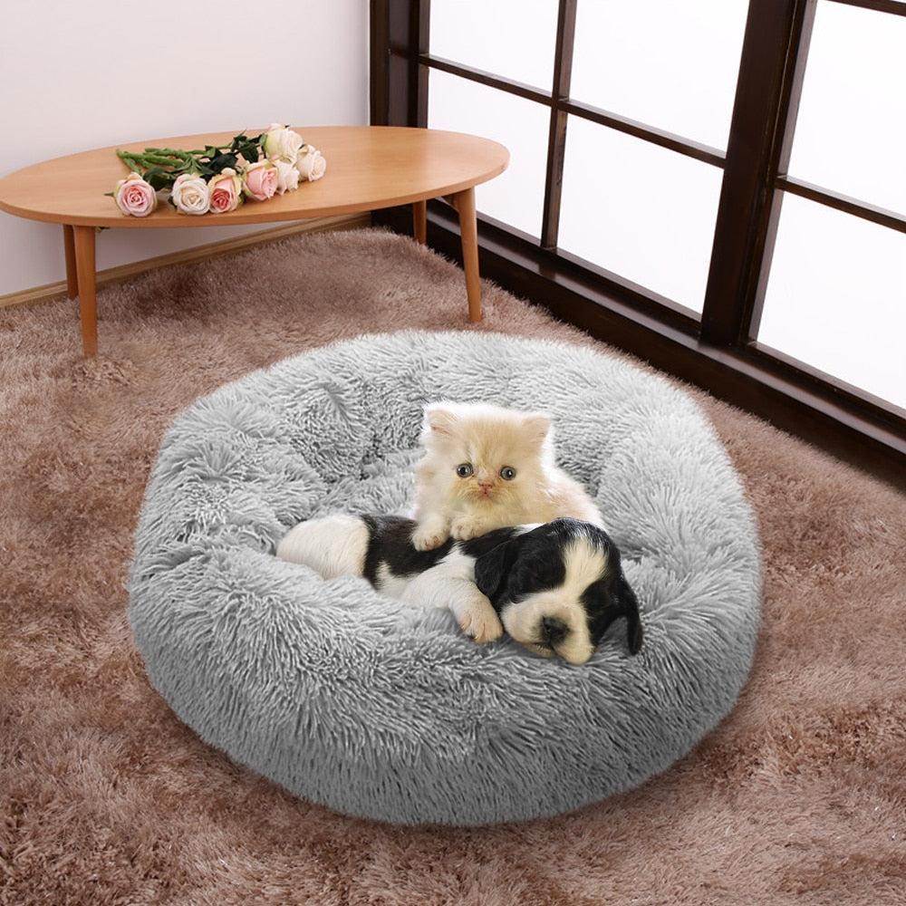 "Fluffy Super Soft Pet Bed Pet Dog Bed Warm Fleece House Long Plush Winter Light Gray / M - Diameter 60cm (23.6"") - Shopptique"