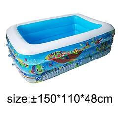 Inflatable Blow Up Above Ground Plastic Swimming Pool 150x110x48cm - Shopptique