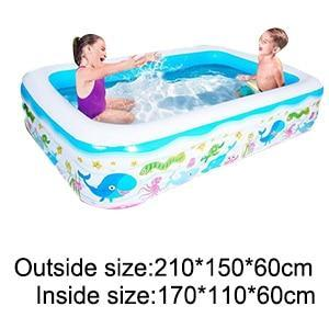 Inflatable Blow Up Above Ground Plastic Swimming Pool 210x150x60cm - Shopptique