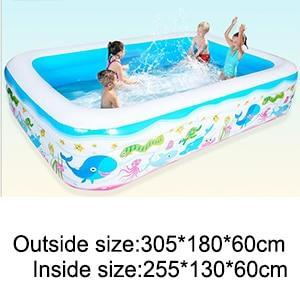 Inflatable Blow Up Above Ground Plastic Swimming Pool 305x180x60cm - Shopptique