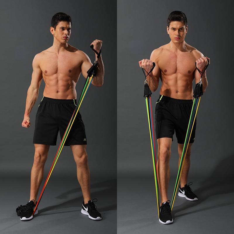 Premium Resistance Exercise Workout Bands With Handles Set 50 lbs - Shopptique