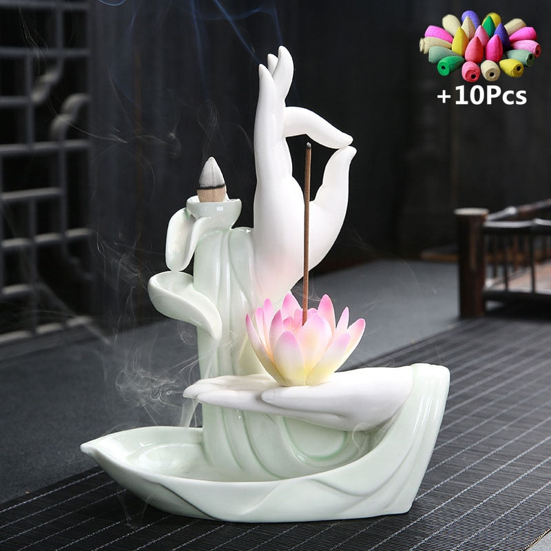 Peaceful Buddha Hands Waterfall Incense Burner White - Shopptique