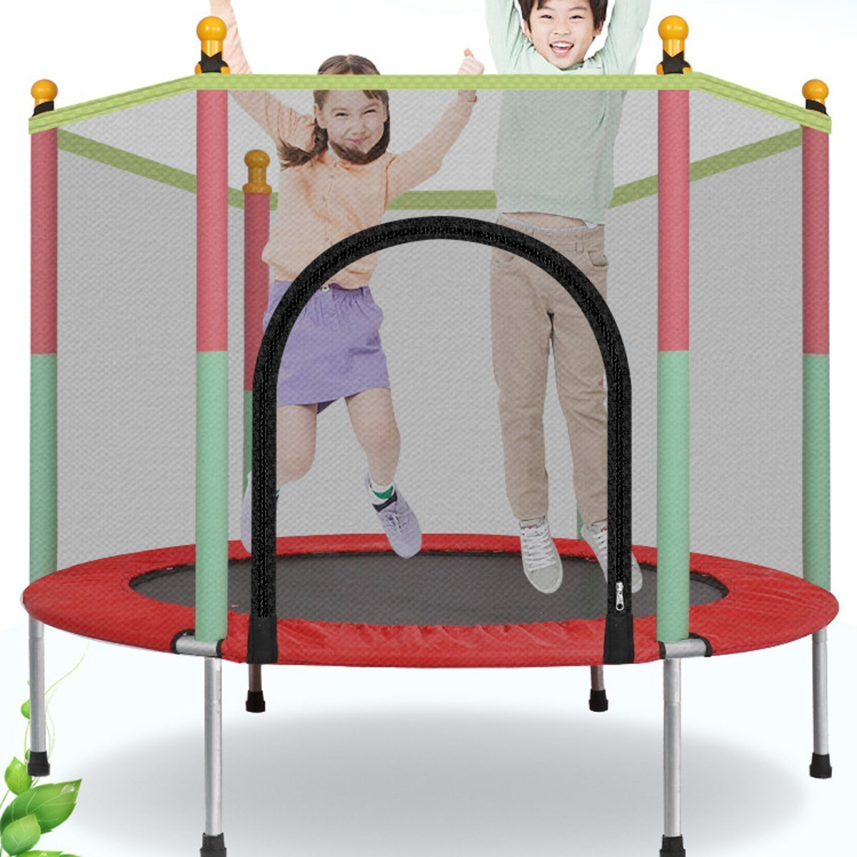 Small Indoor Jump Trampoline With Enclosure For Kids - Shopptique