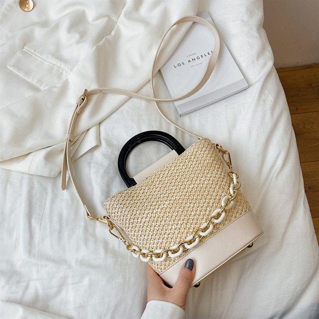 FashionInsta Straw Designer Bag Beige - Shopptique