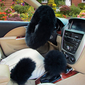 3Pcs Fluffy Set - Fuzzy Steering Wheel Cover Black - Shopptique