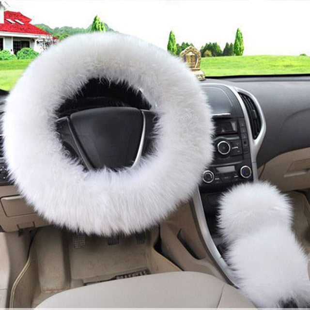 3Pcs Fluffy Set - Fuzzy Steering Wheel Cover White - Shopptique