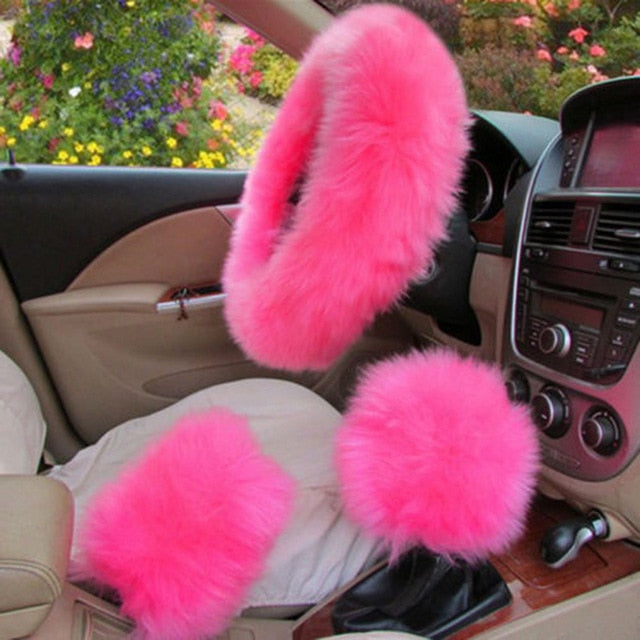 3Pcs Fluffy Set - Fuzzy Steering Wheel Cover French Rose - Shopptique