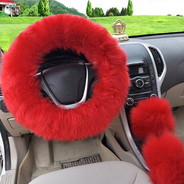 3Pcs Fluffy Set - Fuzzy Steering Wheel Cover Red - Shopptique