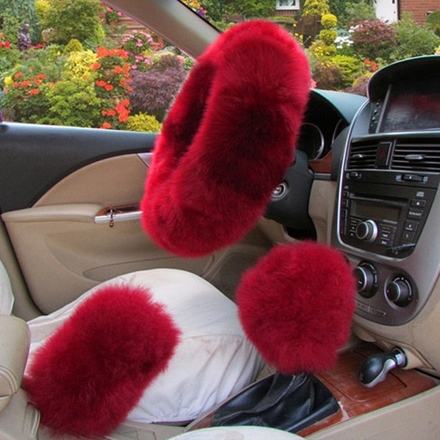 3Pcs Fluffy Set - Fuzzy Steering Wheel Cover Carmine - Shopptique