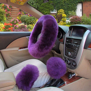 3Pcs Fluffy Set - Fuzzy Steering Wheel Cover Amethyst - Shopptique