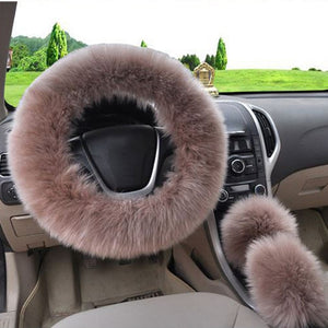 3Pcs Fluffy Set - Fuzzy Steering Wheel Cover Bistre - Shopptique
