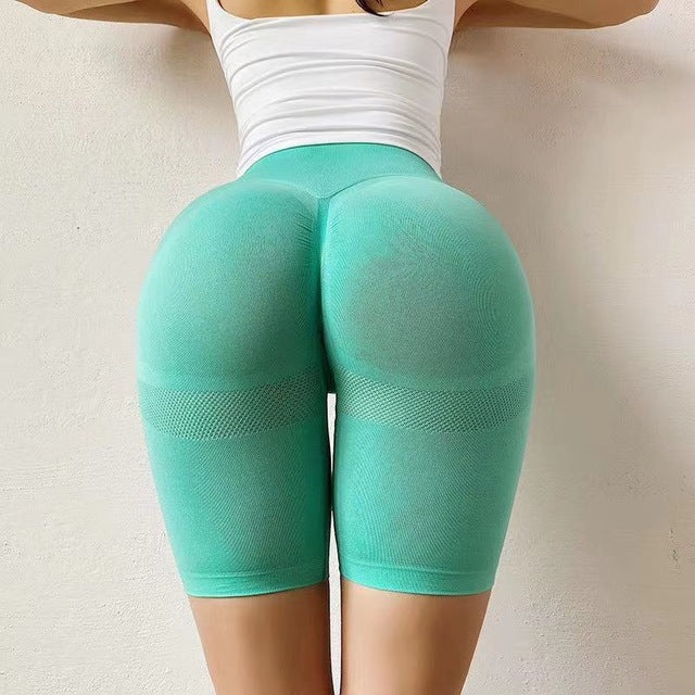 Stretch-Flex Performance Shorts Women Seamless Yoga Shorts High Waist Butt Lifting Sports Tights Squat Proof Gym Workout Fitness Active Wear Legging Green / L - Shopptique