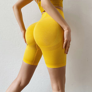Stretch-Flex Performance Shorts Women Seamless Yoga Shorts High Waist Butt Lifting Sports Tights Squat Proof Gym Workout Fitness Active Wear Legging Yellow / S - Shopptique