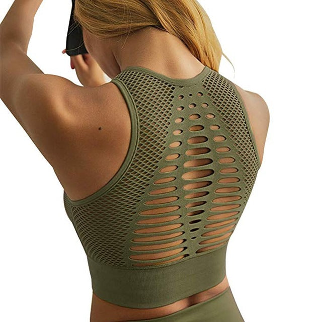 Stretch-Flex Performance Sports Bra Seamless Sports Bra Top Fitness Women Racerback Running Crop Tops Pink Workout Padded Yoga Bra Olive / L - Shopptique