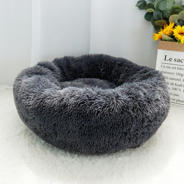 "Fluffy Super Soft Pet Bed Pet Dog Bed Warm Fleece House Long Plush Winter Dark Gray / M - Diameter 60cm (23.6"") - Shopptique"