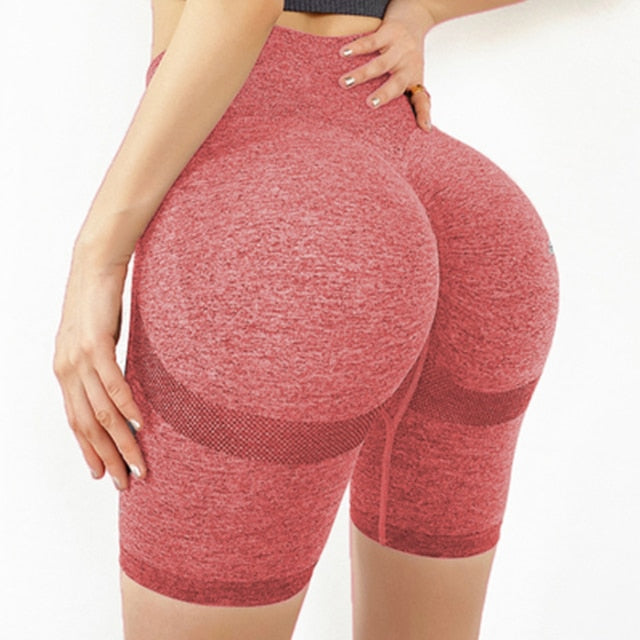 Stretch-Flex Performance Shorts Women Seamless Yoga Shorts High Waist Butt Lifting Sports Tights Squat Proof Gym Workout Fitness Active Wear Legging Pink / L - Shopptique