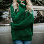Turtleneck Oversized Knit Sweater Premium Oversized Turtleneck Knit Sweater Green / L - Shopptique
