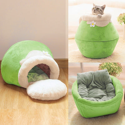 3 Way Purrfect Cat Cushion Winter Warm Cat Bed Plush Soft Portable Foldable Cute Cat House Cave Sleeping Bag Green / For cats up to 5lbs (2.5kg) - Shopptique