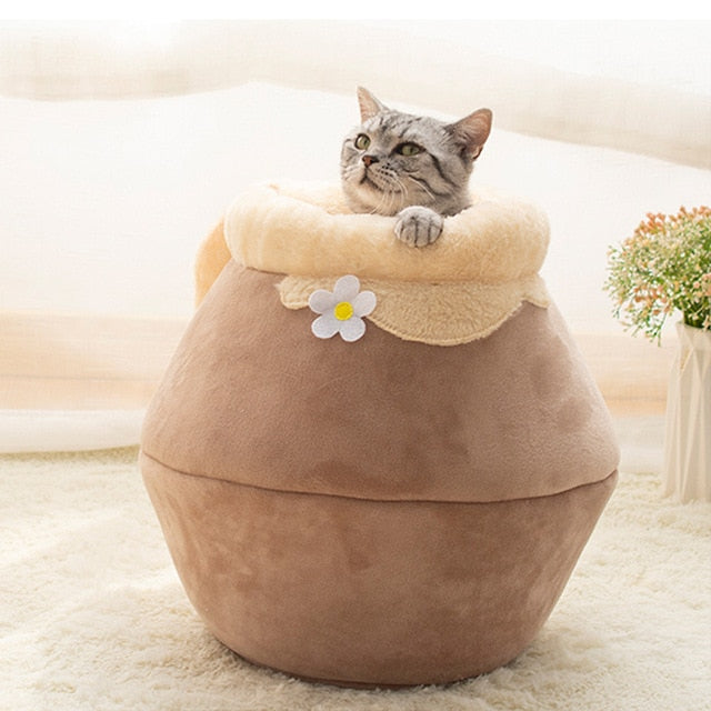 3 Way Purrfect Cat Cushion Winter Warm Cat Bed Plush Soft Portable Foldable Cute Cat House Cave Sleeping Bag Brown / For cats up to 5lbs (2.5kg) - Shopptique