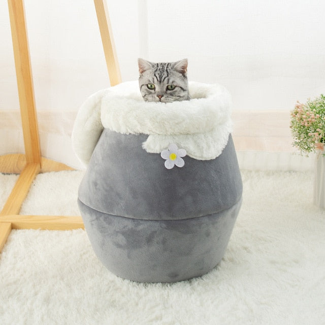 3 Way Purrfect Cat Cushion Winter Warm Cat Bed Plush Soft Portable Foldable Cute Cat House Cave Sleeping Bag Grey / For cats up to 5lbs (2.5kg) - Shopptique