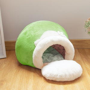 3 Way Purrfect Cat Cushion Winter Warm Cat Bed Plush Soft Portable Foldable Cute Cat House Cave Sleeping Bag - Shopptique