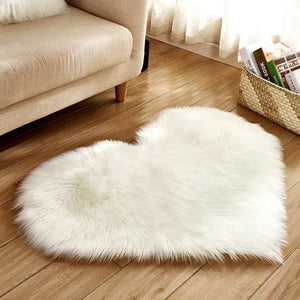 Fluffy™ Heart Love Rug uper Soft Faux Sheepskin Fur Area Rugs for Bedroom Floor Shaggy Plush Carpet Faux Fur Rug Bedside Rugs White / Small - 30cm X 40cm - Shopptique