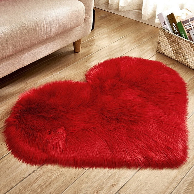 Fluffy™ Heart Love Rug uper Soft Faux Sheepskin Fur Area Rugs for Bedroom Floor Shaggy Plush Carpet Faux Fur Rug Bedside Rugs Red / Small - 30cm X 40cm - Shopptique